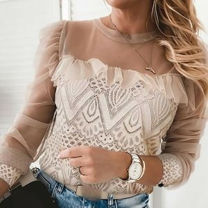 NWOT Apricot lace and sheer mesh ruffles top
